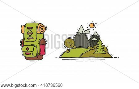 Camping And Expedition Equipment With Backpack And Nature View Vector Set