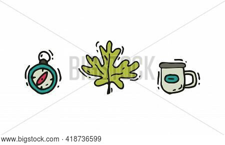 Camping And Expedition Equipment With Compass And Mug Vector Set