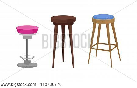 Stool As Backless Chair And Seat Furniture With One And Four Legs Vector Set