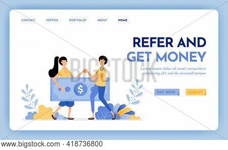 Illustration Of Refer A Friend To Get Reward, Money, Profit, Points, Salary. Multi Level Marketing W