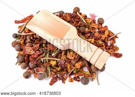 A Mixture Of Crushed Red Cayenne Pepper, Dried Chili Flakes, Rosemary, Pepper. Isolated On A White B