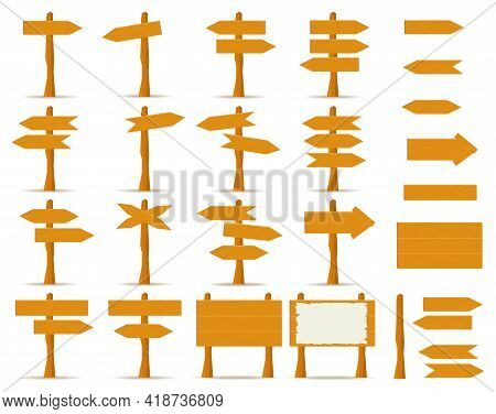 Wooden Plank Pointers. Wooden Direction Signs. Vector Illustration. Vector.