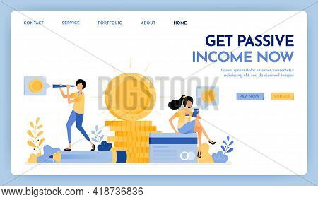 Illustration Of Get Passive Income. People Earn Passive Income Working From Home. 3d Pile Of Shining
