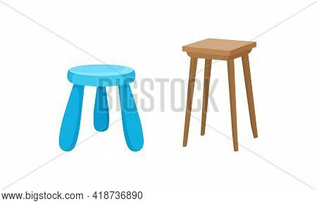 Stool As Backless Chair And Seat Furniture With Three And Four Legs Vector Set