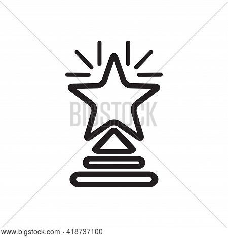 Star. Contoured Simple Award Star Statuette Isolated On White. Logo Trophy Symbol Of Victory Win Tri