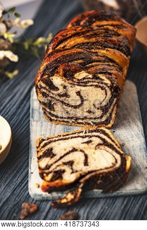Twisted Babka With Poppy Seeds And Chocolate. Bakery And Confectionery Products