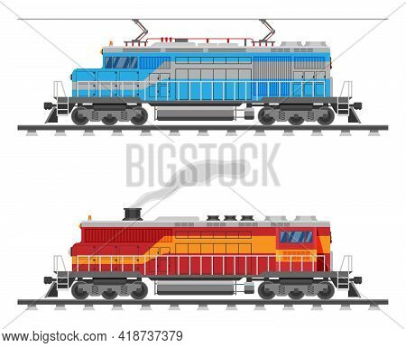 Diesel Or Electric Locomotive Isolated On White. Freight Train With Diesel Or Electric Engine. Side