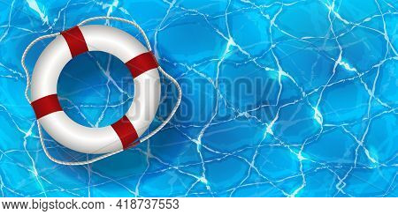 Vector Illustration Of Life Buoy In Water. Water Pool Summer Background With White Pool Float Ring.