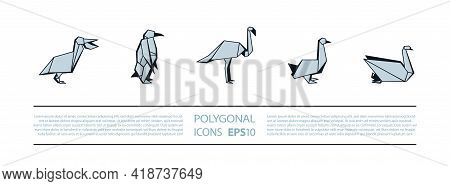 Polygonal Birds Linear Icons Set. Low Poly Waterfowl Bird Icon For Banner Such As Pelican, Penguin,