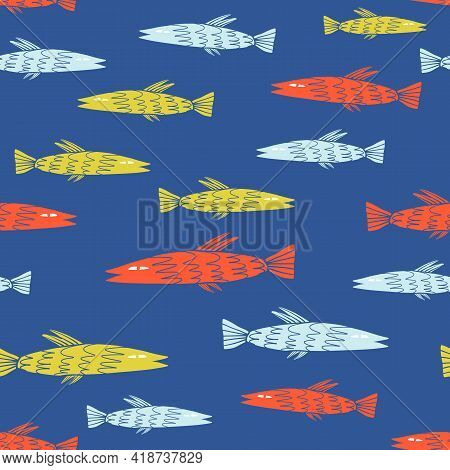 School Of Fish Seamless Pattern. Sea Inhabitant Cartoon Illustration For Textile, Fabric Print, Wrap