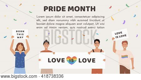Vector Banner For Pride Month. People Holding Placard With Rainbow Heart And Different Slogan, Signs