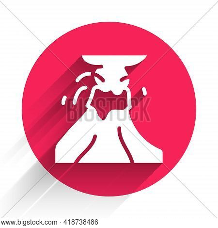 White Volcano Eruption With Lava Icon Isolated With Long Shadow. Red Circle Button. Vector