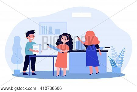 Cartoon Children Cooking Together In Kitchen. Flat Vector Illustration. Little Kids Baking, Making M
