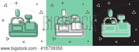 Set Cashier At Cash Register Supermarket Icon Isolated On White And Green, Black Background. Shop As