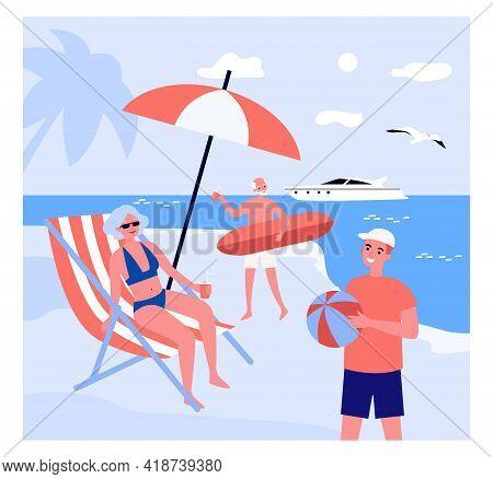 Cartoon People Enjoying Their Vacation At Seaside Resort. Flat Vector Illustration. Grandparents And