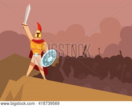 Greek God Of War Leading Angry Army Of Ancient Armored Warriors. Cartoon Vector Illustration. Mars I