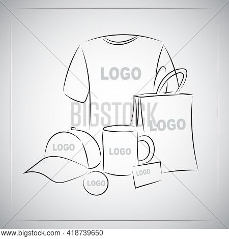 Souvenirs Templates Set. Promotional Branding Gifts Empty Elements. Linear Drawing By Hands On White