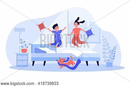 Cartoon Children Jumping On Bed. Flat Vector Illustration. Kids Having Fun In Pyjamas While Jumping