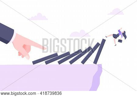Domino Effect Or Business Crisis Metaphor Vector Illustration Concept. Adult Young Businesswoman Fal