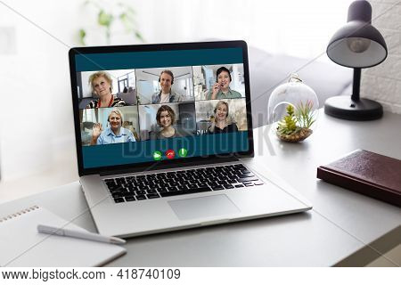 Virtual Meeting Online. Video Conference By Laptop. Online Business Meeting. On The Laptop Screen, P