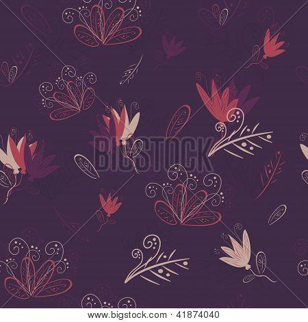 floral seamless pattern on violet background