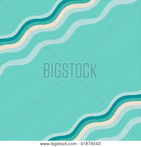 blue background with waves. Card and frame