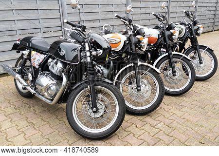 Bordeaux , Aquitaine France - 04 22 2021 : Triumph Bonneville T100 And Royal Enfield Gt Continental