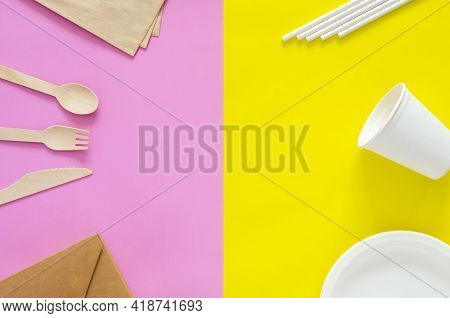 Disposable, Compostable And Recycle Packgages On Yellow And Pink Background. Zero Waste And World En