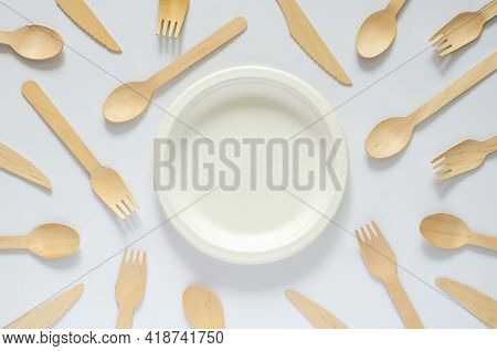 White Disposable, Compostable Dish With Fork And Spoon On White Background For World Environment Day
