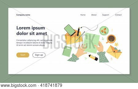 Female Hands Holding Paper Sheet With Handwritten Letter Isolated Flat Vector Illustration. Lady Sen