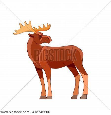 Moose Or Elk, Alces Alces. Beautiful Animal In The Nature Habitat. Wildlife Scene. Cartoon Character