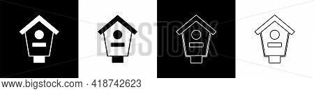 Set Bird House Icon Isolated On Black And White Background. Nesting Box Birdhouse, Homemade Building