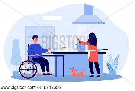 Wife Cooking For Her Disabled Husband. Cartoon Vector Illustration. Woman Cooking Dinner For Smiling