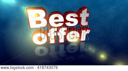 Beautiful Voluminous Text, 3d Illustration, Best Offer. Red-white Letters On A Blue Background With