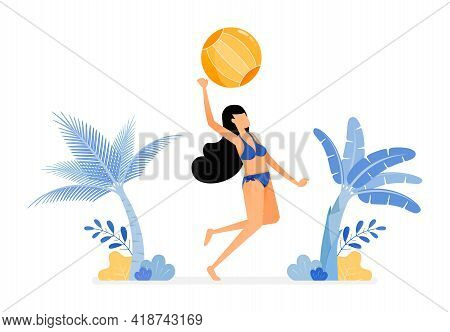 Holiday Illustrations Of Women In Sexy Swimsuits Jump Smash Hit A Volleyball In Beachside . Stress R