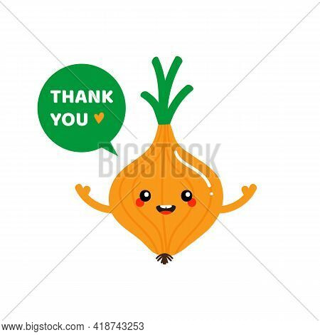 Cute Smiling Cartoon Style Onion Bulb Vegetable Character With Speech Bubble Saying Thank You, Showi