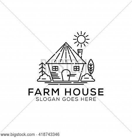 Outline Farm House Logo Design Illustration. Landscape Vector For Nature Farm Products. Outline Logo