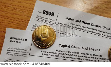 Qawra, Malta 27.04.2021 - Cryptocurrency And Capital Gain. 8949 Form And Schedule D Of Form 1040. Us