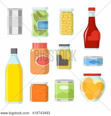 Different Food In Cans And Jars Vector Illustrations Set. Collection Of Cartoon Tinned Goods, Fish,
