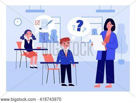 Cartoon Teacher Conducting Class For Excellent And Bad Pupils. Flat Vector Illustration. Teacher Ask