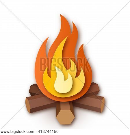 Burning Bonfire Or Campfire, Firewood With Fire Or Flame. Simple Vector Illustration On White Backgr