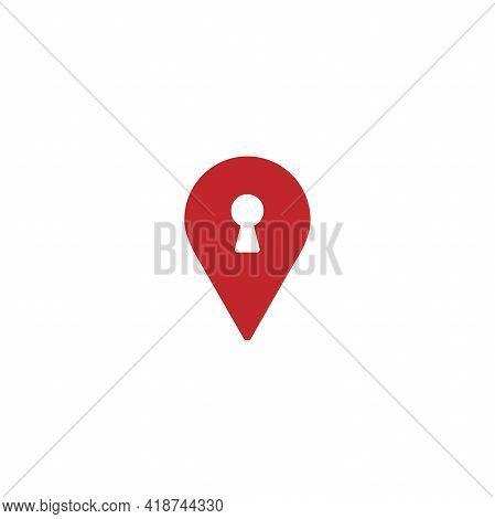 Keyhole And Location Icon. Gps Pointer. Map Pin. Navigation Marker And Key. Vector Simple Button. Pi