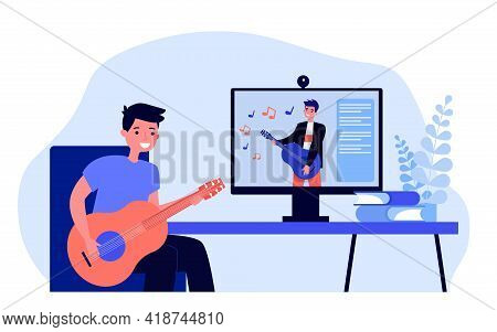 Cartoon Young Man Learning Playing Guitar Online. Flat Vector Illustration..young Man Watching Music