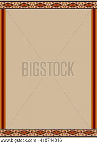Ethnic Pattern Background With Copy Space For Text. Design Template For Mexican Restaurant Menu, Cin
