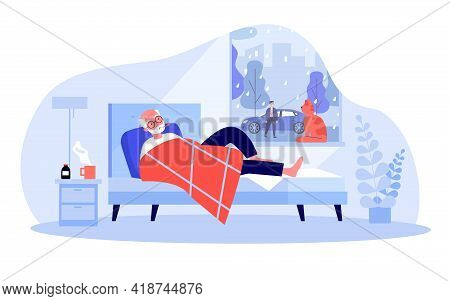 Cartoon Old Man With Fever Lying In Bed. Flat Vector Illustration. Male Person Drinking Medicine, Ta