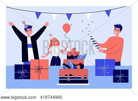 Young People Having Fun At Birthday Party. Flat Vector Illustration. Group Of Friends Celebrating To