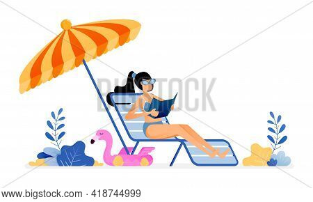 Happy Vacation Illustration Of Woman Sunbathing And Enjoying A Holiday By Beach In Peace. Umbrellas