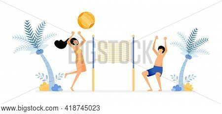 Happy Vacation Illustration Of Couples Enjoy A Holiday On The Beach By Playing Volleyball To Unwind.