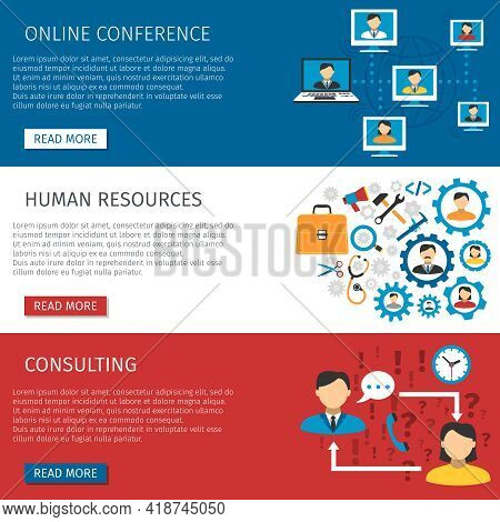 Human Resources Teams Online Conferences And Consulting Website 3 Flat Interactive Banners Design Ab