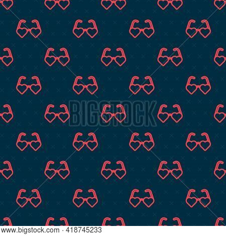 Red Line Heart Shaped Love Glasses Icon Isolated Seamless Pattern On Black Background. Suitable For
